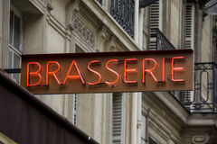 Brasserie sign in Paris. France Stock Images