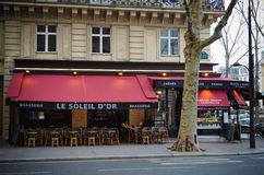 Brasserie on a street in Paris Stock Images