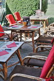 Brasserie terrace in France. Brasserie terrace in the medieval city of Mirepoix,Ariege,Midi-Pyrenees region of France Royalty Free Stock Image
