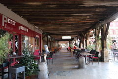 Brasserie terrace in France. Brasserie terrace in the medieval city of Mirepoix,Ariege,Midi-Pyrenees region of France Stock Photo