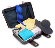 Brassiere and Panama on a suitcase for a holiday. Stock Photos