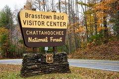 Brasstown Bald Visitor Center Sign in Hiawassee Georgia USA. Hiawassee, GA/USA Nov 8 2018: Brasstown Bald visitor center sits atop the highest mountain in stock image