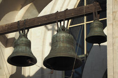 Brassy church bell. Steel ancient orthodox church bell Royalty Free Stock Images