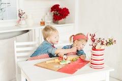 Brat i siostra ma zabawę w kuchni Zdjęcia Stock