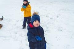 Brat i siostrzana karma kaczki w zimie chłopiec wyczerpywał jedzenie dla ptaków fotografia stock