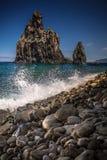 Brat skały przy Madeidar brzeg Obraz Royalty Free