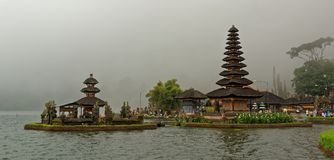 Bratan Temple in Bali. Pura Ulun Danu Beratan, or Pura Bratan, is a major Shaivite water temple on Bali, Indonesia. The temple complex is located on the shores Stock Images