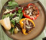 Bratenpfeffer und -salat Stockfoto