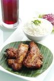 Bratenrippen mit Reis Lizenzfreies Stockfoto