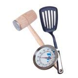 Bratenthermometer und Fleischhammer Lizenzfreie Stockfotografie
