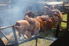 Bratferkel, gegrilltes Schwein am Straßenlebensmittelmarkt in Thailand Abschluss oben Stockfotos