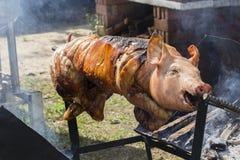 Bratferkel, gegrilltes Schwein am Straßenlebensmittelmarkt in Thailand Abschluss oben Lizenzfreie Stockfotografie