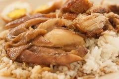 Brathähnchen und knusperiges Schweinefleisch mit Reis und gekochtem Ei stockfotos