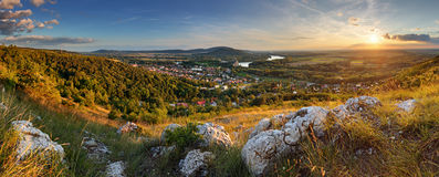 Bratilava panorama with village Devin at sunset stock images