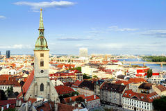 Bratislava. Landscape. Saint Martin's Cathedral on the left and Danube river on the right Stock Photography