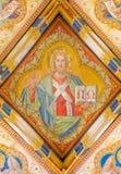 Bratislava - affresco di Jesus Christ dalla cappella laterale gotica di St Ann da Carl Jobst. dal centesimo 19. nella cattedrale d Fotografie Stock Libere da Diritti