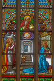 Bratislava - Annunciation scene on windowpane in st. Martins cathedral Royalty Free Stock Photos