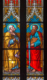 Bratislava - Apostle Peter And Paul On Windowpane In St. Martin Cathedral. Stock Photos