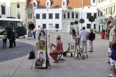 Bratislava,august 29:Artists Downtown of Bratislava in Slovakia Royalty Free Stock Image