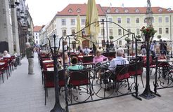 Bratislava,august 29:Downtown Main Square Terrace from Bratislava in Slovakia Royalty Free Stock Image