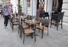 Bratislava,august 29:Downtown Terrace from Bratislava in Slovakia Stock Photos