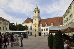 Bratislava,august 29:Main Square with Town Hall building from Bratislava in Slovakia stock photo