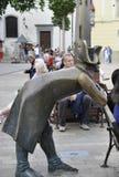 Bratislava august 29: Napoleon Soldier Statue från huvudsaklig fyrkant av Bratislava i Slovakien Royaltyfria Foton