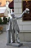 Bratislava,august 29:Schoner Naci Statue downtown of Bratislava in Slovakia Stock Photo