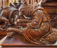Bratislava - Bear at reading symbolic carved sculpture from bench in st. Matins cathedral Stock Photo
