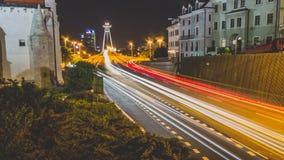 Bratislava bij nacht Stock Fotografie