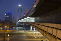 Bratislava bridge at dawn Royalty Free Stock Photos
