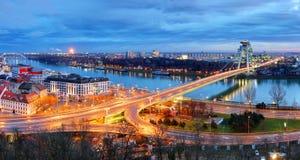 Bratislava Bridge - Slovakia. At night royalty free stock photography