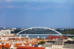 Bratislava Skyline With Apollo Bridge Royalty Free Stock Photo