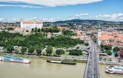 Bratislava - the capital city of Slovakia with beautiful castle Stock Photography