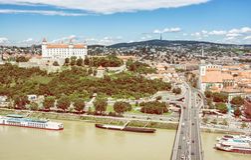 Bratislava - the capital city of Slovakia with embankment of Dan Stock Photos