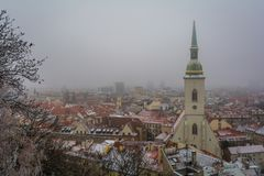 Snowy winter morning view from Bratislava Castle, Slovakia. royalty free stock photography