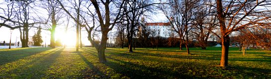 Bratislava Castle. Panorama of Bratislava Castle through park and trees, Slovakia Stock Images