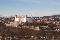 Bratislava Castle. As seen from the UFO restaurant on top of Novy Most, the new bridge over the Danube stock photography