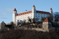 Bratislava Castle. As seen from the UFO restaurant on top of Novy Most, the new bridge over the Danube Stock Photo