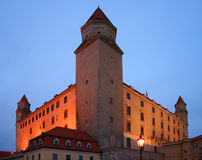 Bratislava castle. Picture of bratislava castle from way on evenings street of bratislava royalty free stock photos