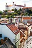 Bratislava castle and Bastova street in old city Royalty Free Stock Image