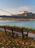 Bratislava castle with bench Stock Image