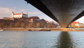 Bratislava castle and bridge Royalty Free Stock Photo