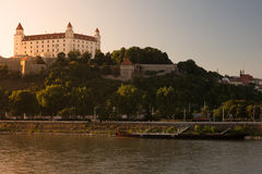 Bratislava castle in capital city of Slovak republic. Architectural theme. Cultural heritage. Travel destination. Beautiful place. Seat of power Royalty Free Stock Image