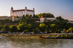 Bratislava castle in capital city of Slovak republic. Architectural theme. Cultural heritage. Travel destination. Beautiful place. Seat of power Royalty Free Stock Photography
