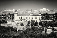Bratislava castle in capital city of Slovakia, black and white p Stock Images