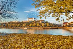 Bratislava castle,cathedral and parliament over Danube river in Bratislava city,Slovakia Stock Image