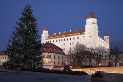 Bratislava - castle and christmas tree Stock Image