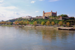 Bratislava Castle and Danube river Royalty Free Stock Image