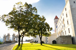 Bratislava castle in daylight. Sunshine after rainy day near old fortress in Bratislava, Slovakia Stock Photo